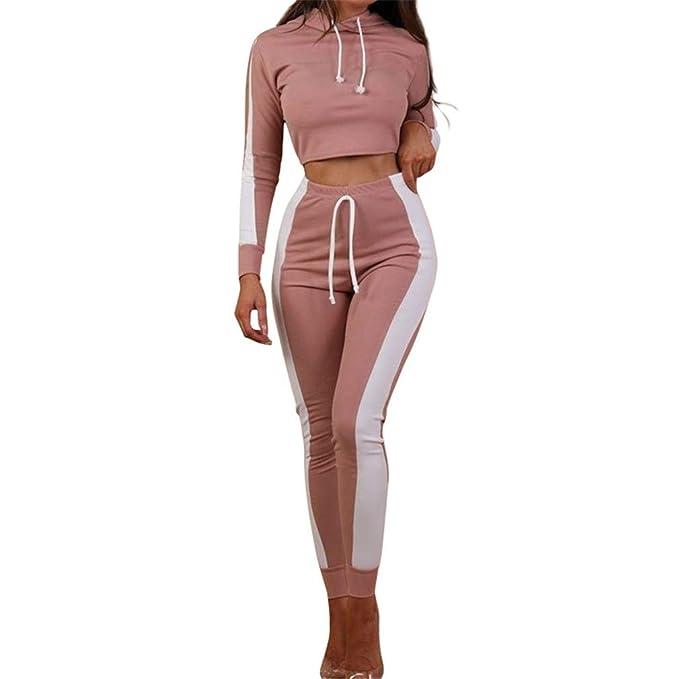 Hibote Abbigliamento Sportivo Donna Tuta Sportiva Morbida Comoda Fitness  Yoga Tute Pullover a Maniche Lunghe Pantaloni 2 Pezzi Vestiti Set Felpa +  Sportiva ... a906c81b2d0