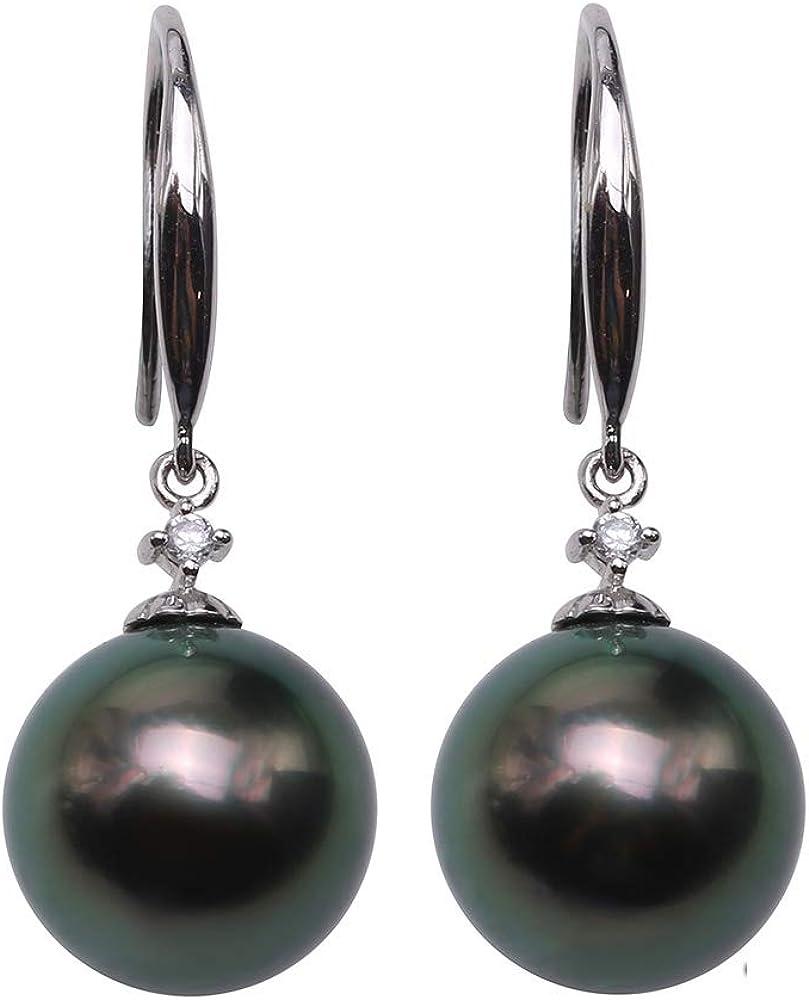 JYX - Pendientes largos de plata de ley con ganchos de 10 a 10,5 mm, perla cultivada de Tahití, color negro
