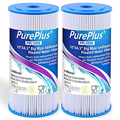 """Icepure ICP-PPL10BB Big Blue Pleated Sediment Compatible with DuPont WFHDC3001,GE FXHSC, Culligan R50-BBSA, Pentek R50-BB Whole House 10"""" x 4.5"""" Sediment Filter 2Pack"""