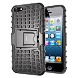 iPhone 5S Case,iDoer [Armor Wave] Heavy Duty Protection Rugged Hybrid Dual Layer Hard PC and Soft TPU Stand Case With Kickstand for Apple iPhone 5 and 5S (Black)