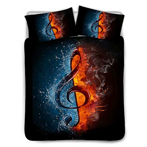 Salabomia Luxury Men Women Duvet Cover Water Flame Music Note Print Bedroom 3 Pieces Bedding Comforter Case Set with 2 Pillow Shams Queen Size (Music Design Note 3 Cases)