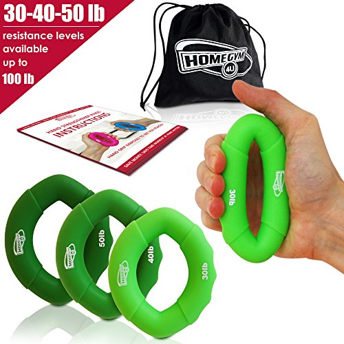 Hand Strengthener Grip Rings 30-100LB - Multiple Resistance Levels & Colors Available - Comfortable To Use Oval Shaped Ergonomic Design - For Men & Women of All Ages