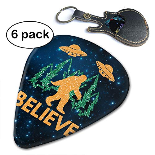 Paulino 6 Pack Bigfoot Sasquatch Believe With UFO And Aliens Guitar Picks Classic Picks, Unique Guitar Gift For Bass, Electric & Acoustic Guitars