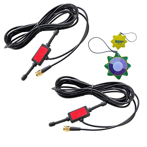 2X HQRP Antennas 433Mhz GSM 2dbi SMA Plug 3m w/Universal CMMB Patch Aerial for Digital Cellular Alarm Communicator/Mobile Phone/Car GSM Phone + HQRP UV Meter