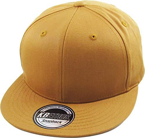 KBETHOS KNW-1467 TIM Cotton Snapback Solid Blank Cap Baseball Hat Flat Brim ()