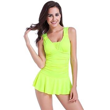 Mujeres Push Up acolchada Bikini falda una pieza Bañador bañadores ...