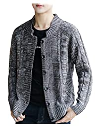 TaoNice Men Casual Knitting Long Sleeve Button Plus Size Fashionable Knit Cardigan