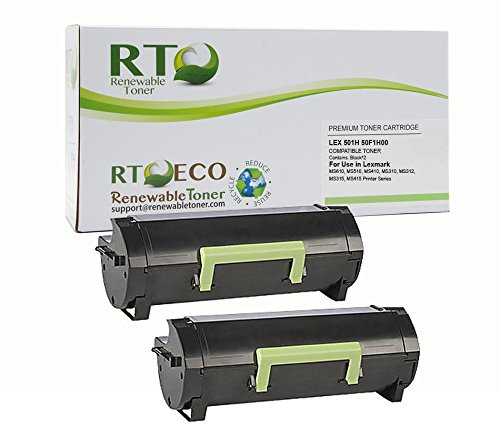 Renewable Toner Compatible Toner Cartridge High Yield Replacement for Lexmark 501H 50F1H00 MS310 MS312 MS315 MS410 MS415 MS510 MS610 (2-Pack)