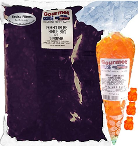 Albanese Purple Grape Gummi Bears 5LB Bag With Energy Orange Gummy Bears Gourmet Kruise Signature Gift Bag 11 OZ (NET WT 5 LBS.11OZ) 2 Item Bundle