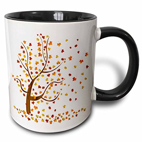 3dRose Fall Tree with Leaves Two Tone Black Mug, 11 oz, Black/White