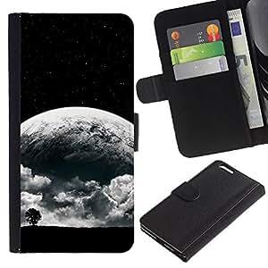 LECELL--Cuero de la tarjeta la carpeta del tirón Smartphone Slots Protección Holder For Apple Iphone 6 PLUS 5.5 -- Surrealista Luna --