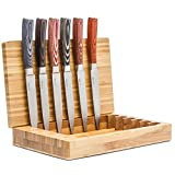 La Cote 6 Piece Steak Knives Set Japanese Stainless Steel Wood Handle in Bamboo Storage Box (Pakka Wood - Multi)
