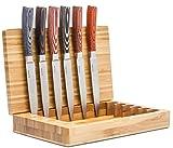 La Cote 6 Piece Steak Knives Set Japanese Stainless Steel Pakka Wood Handle In Bamboo Storage Box (6 PC Steak Knife Set – Multi) Review