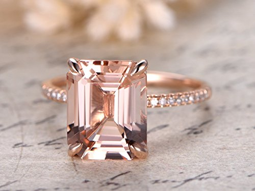 Natural 9x11mm Emerald Cut VS Pink Morganite Solid 14k Rose Gold Diamonds Thin Band Solitaire Vintage Engagement Bridal Anniversary Women Ring Wedding Propose Band Size4-9