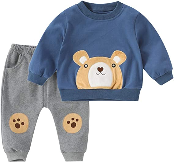 Toddler Kids Baby Boys Hoodie Cartoon Bear Sweatshirt Tops Pants Outfits Set