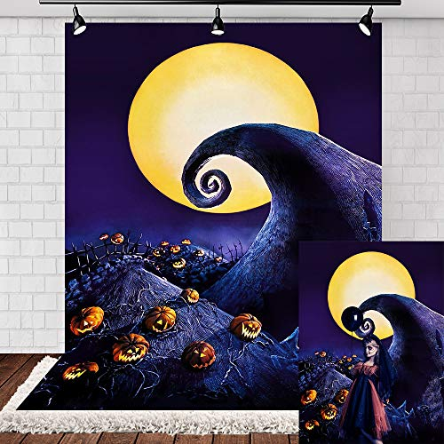 Halloween Party Photo Backdrop (Allenjoy 5x7ft Nightmare Before Christmas Backdrops for Halloween Party Backdrop Jack Pumpkin Halloween Photo Booth Backdrop Vinyl Halloween Backdrops for)