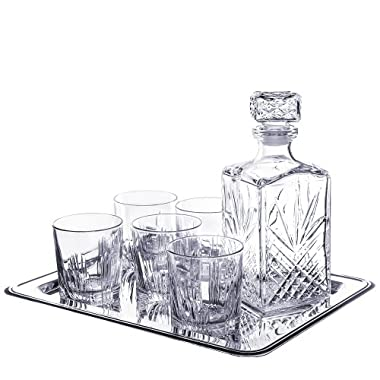 Selecta 7 Piece Whiskey Set (6 Dof Glasses, 1 Decanter) with Tray (8 Pieces total)