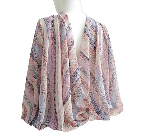 Striped Pastel Shades Wide Long Soft Cotton Blend Scarf Women's Fashion Accessories Shawl Wrap Christmas Mother's day Gift 77