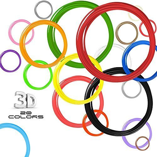 3D Filament Fun Pack - 1.75 ABS - 20 colors of which 2 GLOW IN DARK & 2 FLOURESCENT- 150+ Stencils BONUS (Downloadable PDF eBook) - OVER 400 ft of Colorful Filaments - 20 feet per color / 20 colors