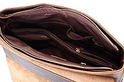 Men's Leather Laptop Bag, Berchirly Vintage Look Crazy Horse Genuine Leather Business Crossbody Shoulder Bag Briefcase for Men Fits 15 Inch Laptop, Dark Brown
