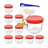 Set of 10Glass Jars 230ml Assorted Lid Colour red