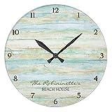 Rustic Round Wall Clock For Living Room Decor Wood Ocean Beach House Coastal Seashore Nursery Wood Wall Clock For Bedroom Decor 12 Inch