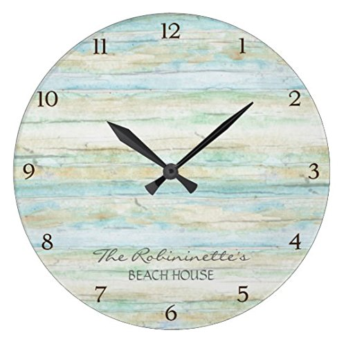 Rustic Round Wall Clock For Living Room Decor Wood Ocean Beach House Coastal Seashore Nursery Wood Wall Clock For Bedroom Decor 12 Inch