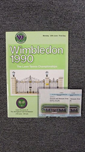 1990 WIMBLEDON TENNIS PROGRAM WITH TICKETS MARTINA NAVRATILOVA STEFAN EDBERG