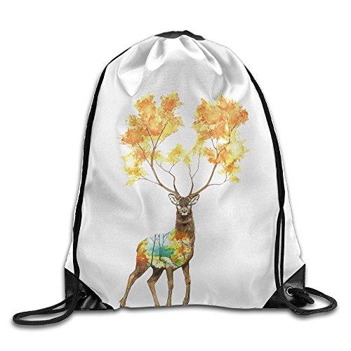 Oh Color Deer Beam Drawstring Travelling Bundle Storage Gym Bag Ball Backpack