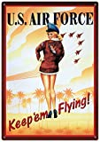 Air Force Keep Em Flying Sexy Girl Tin Sign 12 x 17in