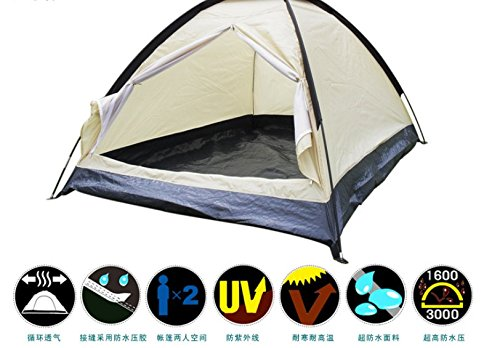 CAMTOA Camping Tent 2 Person Water Resistant Berth Dome Single Layer Camping Hiking Tent Waterproof Travel Outdoor With Carry Bag