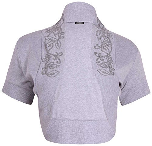 PurpleHanger Women's Short Sleeve Bead Shrug Top Plus Size Light Grey Size 20-22