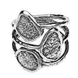 Paz Creations ♥925 Sterling Silver Multi-Row Oxidized Ring (8), Made in Israel
