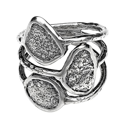 Paz Creations ♥925 Sterling Silver Multi-Row Oxidized Ring (5),Made in Israel ()