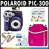 Polaroid PIC-300 Instant Film Analog Camera (Purple) with (2) Polaroid 300 Instant Film Packs of 10 + Polaroid Neoprene Pouch + Polaroid Cleaning Kit + Neck & Wrist Strap
