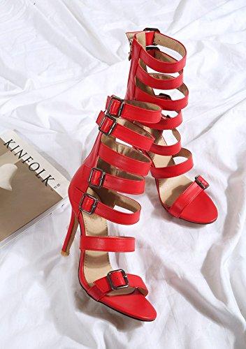 Easemax Kvinners Sexy Høy Topp Strappy Høy Stiletthæl Åpen Tå Zippe Spenne Gladiator Boot Sandaler Røde