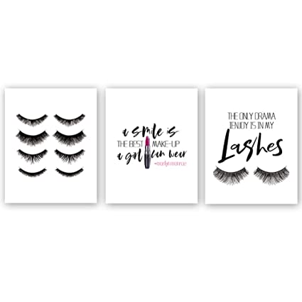 4e1f48c9068 Chsdec Fashion Print,Fashion Women Art Print,Lashes Lipstick Printing,Set  of 3(8