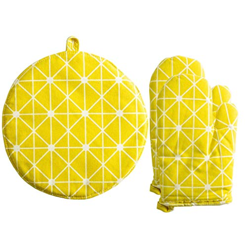 (GUIGU Cotton Linen Lattice Heat Resistant Oven Mitts and Pot Holder Set for Cooking/Baking/Barbecue(Yellow))