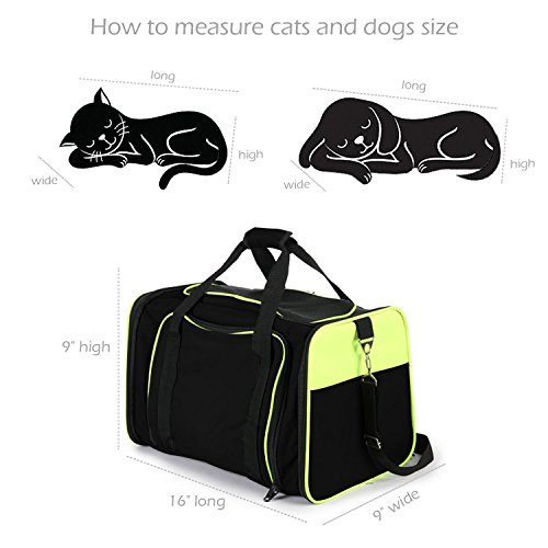 Jespet Expandable Airline Approved Pet Carrier with with Fleece Mat by, Foldable Soft Sided Travel Dog Carrier for Cats Kitten Puppy (16'' L x 9'' W x 9'' H, Black + Neon Green) by Jespet (Image #4)