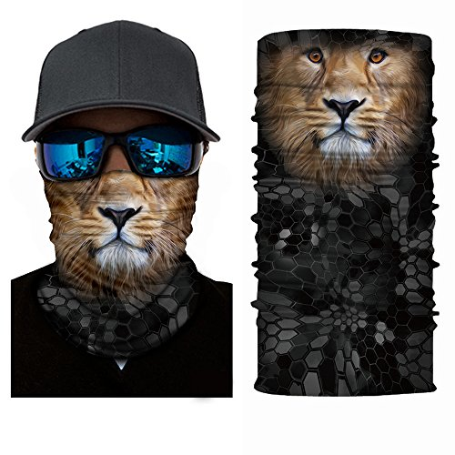 3D Animal Cycling Face Mask, Fabric UV Protection Outdoor Cycling Riding Hiking Motorcycling Mask Dust-Proof Breathable Seamless Tube Headwear Ski Snowboard Scarf Neck Warmer Balaclava Bandana (Lion)