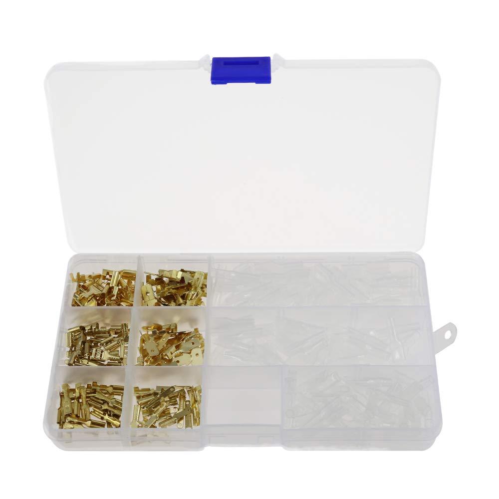 240 St/ücke 2,8mm 4,8mm 6,3mm Draht Terminal Crimp M/ännlich Weiblich Spaten Terminal Block Stecker mit Isolierh/ülse Sortiment Kit Messing Vergoldet