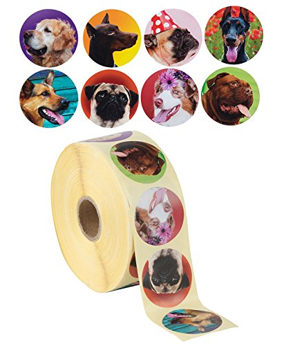 Dog Stickers - 1000-Count Dog Roll Sticker, 8 Cute Designs, Round Adhesives, Party Favor Stickers, Classroom Reward Stickers for Kids, Craft Stickers, 1.5 Inch Diameter Round Labels -