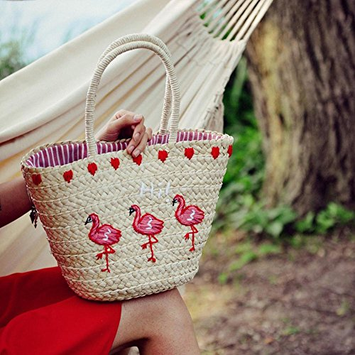 Girls Bags Supertop Holiday Embroidery For Tote New Sling Summer Flamingo Beach Braided Woven Straw Stylish Women Brand Bag xx5wvgr