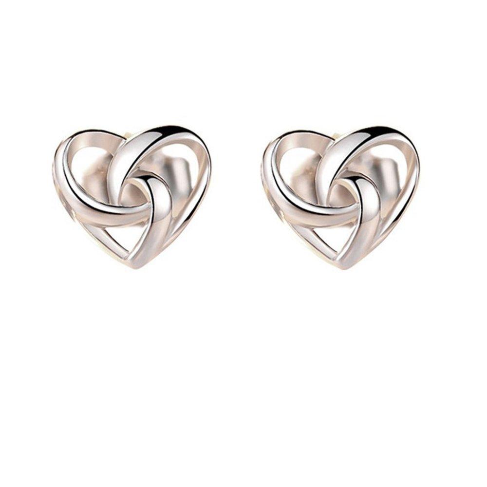 Heart Earrings Sterling Silver Tiny Love Knot Stud Earrings