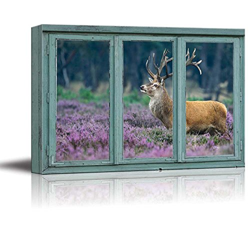 A red Deer in a Field of Purple Blooms Stag with Large Antlers