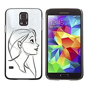 Colorful Printed Hard Protective Back Case Cover Shell Skin for SAMSUNG Galaxy S5 V / i9600 / SM-G900F / SM-G900M / SM-G900A / SM-G900T / SM-G900W8 ( Portrait Profile Girl Drawing Pencil Face )