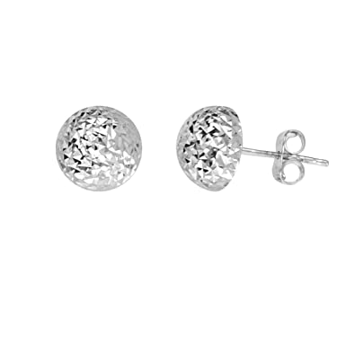 7f5d6e00c Image Unavailable. Image not available for. Color: 14k White Gold Half Ball  Stud Earrings Diamond-cut Texture