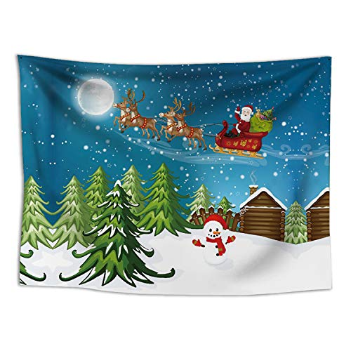 Wall Santa Claus (RAISEVERN Christmas Tapestry Wall Hanging Santa Claus Reindeer Sending in The Moon Night Pattern Tapestries Wall Decor Art Home Decoration(Christmas 3,59.1