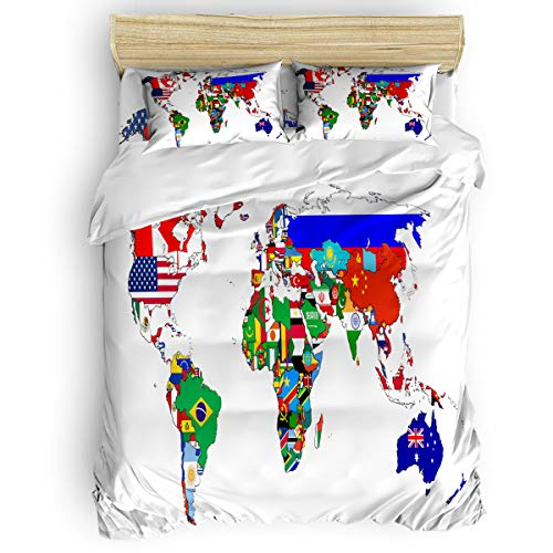 Picpeak Home Bedding Set 4 Piece Duvet Cover Set Twin Size World Map with Nation Flag Lightweight Soft Bed Sheets, Duvet Cover, Flat Sheet and Pillow Covers for Children/Adults/Teen