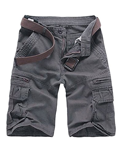 Hombre Casual Pantalones Cortos Con Cremallera Jogging Pantalón Cargo Gris